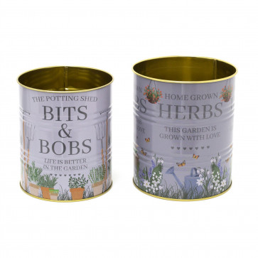 Set Of 2 Potting Shed Retro Metal Storage Tins | Decorative Garden Display Can | Grey Vintage Metal Tin Cans