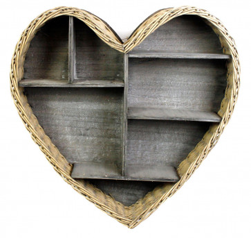 Natural Woven Wicker Heart Shaped Wall Hanging Shelf Unit Display Storage