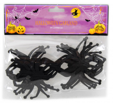 Black Felt Hanging Halloween Spider Garland Bunting Decoration