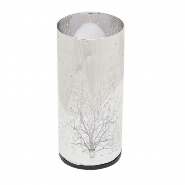 15cm Glass Cylinder LED Woodland Lamp | Battery Operated Silver Tree Light | Flickering Night Light With Timer