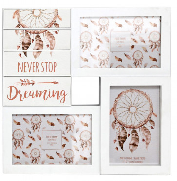 Wooden Dreamcatcher Multi Aperture Dream Catcher Quote Photo Picture Frame ~ Never Stop Dreaming