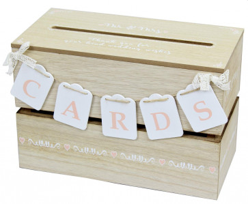 Wooden Wedding Guest Wishes Card Post Envelope Drop Memory Box