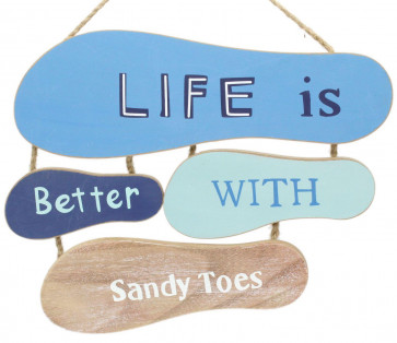 Nautical Flip Flop Sign - Footprints In The Sand Wooden Hanging Plaque - Life Is Better With Sandy Toes