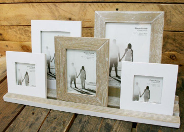 Rustic 5 Wooden Photo Frames On Tray ~ Finished In A Distressed Lime Washed Style