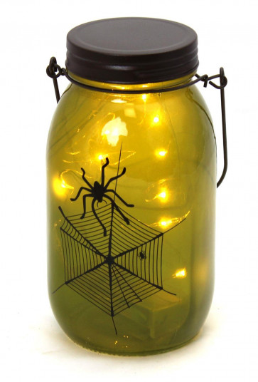 Hanging Glass Jar LED Battery Operated Halloween Lantern Party Decoration ~ Green Spider