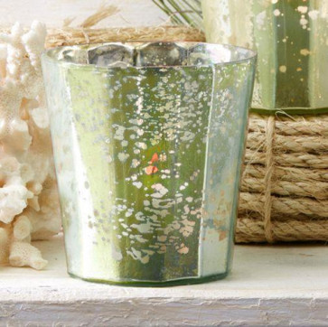 Watercolour Mercury Candle Tealight Holder ~ Seagrass