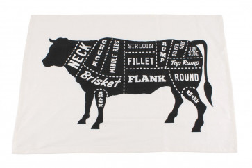 Butchers Cut Beef Joints Cotton Tea Towel For Bbq Kitchen