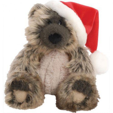 Suki Monty Bear Wearing Santa Hat ~ Large Two-Tone Charcoal Colour Soft Toy