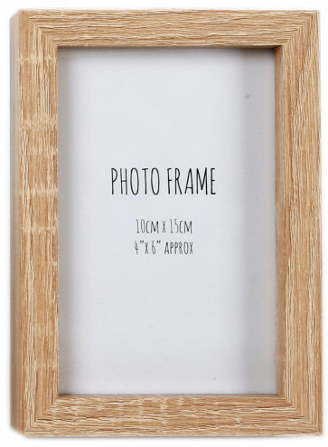 Simple Wooden Box Style Single Photo Frame Freestanding Portrait Or Landscape 6 x 4 ~ Natural