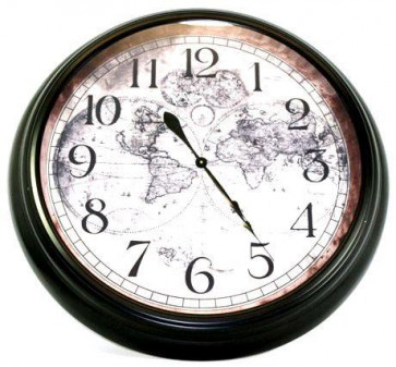 Huge Antique Style World Map Wall Clock 93Cm
