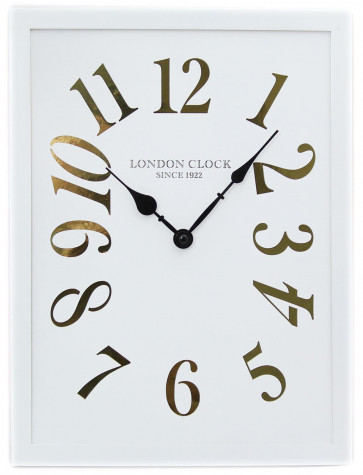 40cm x 30cm Rectangular Wooden London Wall Clock With Metallic Cut Out Numerals ~ White