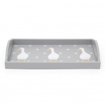 35cm Pretty Duck Serving Carry Tray | Grey Wooden Storage Display Tray With Handles | Shabby Chic Home Accessories