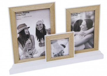 Set Of 3 Wooden Picture Photo Frames On White Tray Base