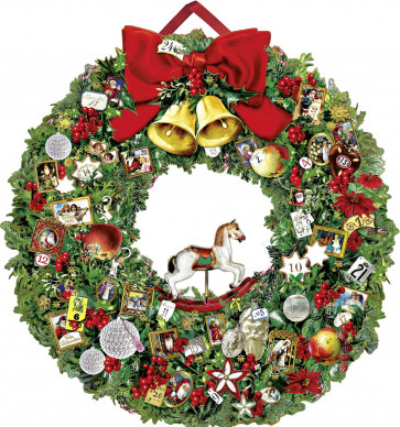 Deluxe Traditional Card Advent Calendar Large - Christmas Wreath