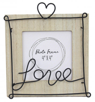 "Freestanding Wooden Wire Love Heart Picture Photo Frame 4"" x 4"""