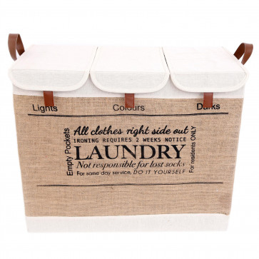 Folding Laundry Basket 3 Compartment | Canvas Collapsible Washing Basket With Handles | Jute Washing Bin Laundry Sorter