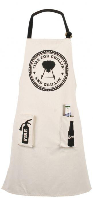 Cotton Barbeque Apron With Bag ~ Bbq Apron Time For Chillin And Grillin