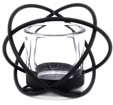 Black Metal Wire Cross Over Tealight Candle Holder