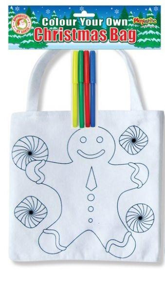 Colour Your Own Christmas Bag ~ Gingerbread Man