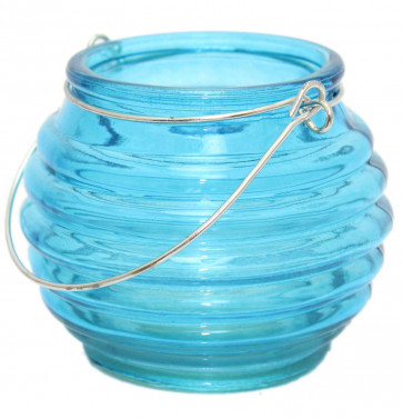 Bright Coloured Glass Ribbed Tealight Candle Holder Pot With Wire Handle ~ Turquoise