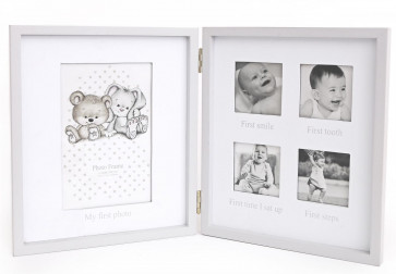 Baby 4 Aperture Double Wooden Photo Picture Frame ~ Adorable My Firsts Photo Picture Frame