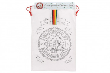 Colour Your Own Christmas Canvas Bag - 'Delivered By Reindeer Mail' Colour In Santa Sack