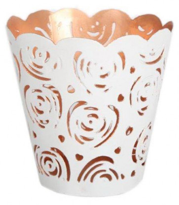 White Rose Cut Metal Tealight Holder With Copper Detail