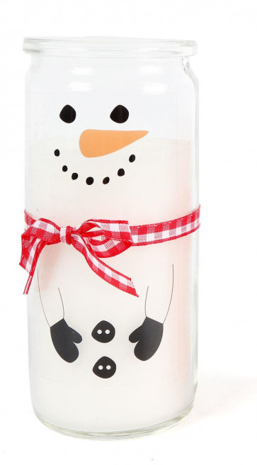 Snowman Christmas Scented Candle Glass Jar Tealight Holder