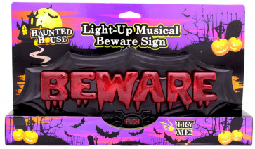 Haunted House Light Up Muscial Beware Sign - Flashing Halloween Horror Plaque With Eerie Halloween Music ~ Great Halloween Party Decoration