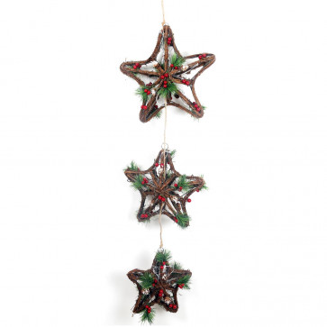 Battery Operated Flashing LED Light Up Triple Woven Wood Rattan Star Hanging Christmas Decoration