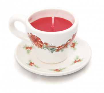 Mini Vintage Christmas Scented Candle Tea Cup & Saucer - Candle in a Teacup - Design may vary