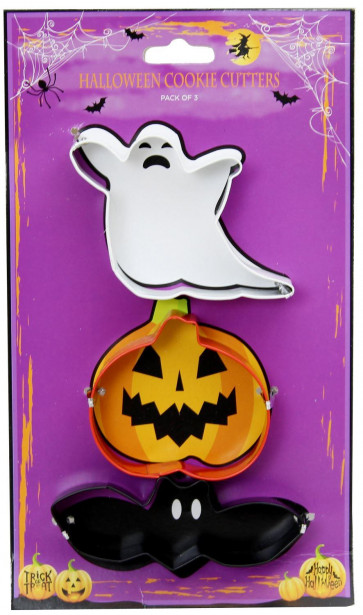 Set Of 3 Spooky Fun Stainless Steel Ghost Pumpkin Bat Halloween Cookie Cutters Kitchen Tool