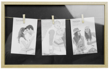 Clothes Line Style Natural Triple Peg Display Box Photo Frame - Black