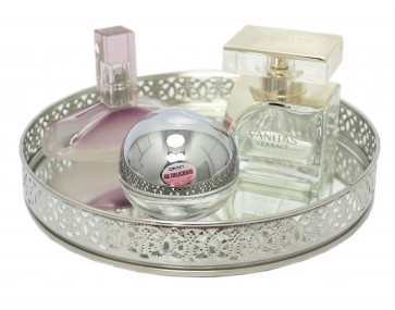 Silver Mirror Glass Metal Decorative Candle Plate Holder - Table Centrepiece Tealight Tray Flower Vase Perfume Display 20cm