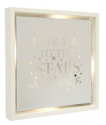 White Wooden Light Up LED Mirror Frame Hanging Quote 30cm ~ Love You To The Stars