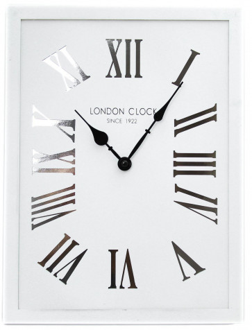 40cm x 30cm White Rectangular Wooden London Wall Clock With Metallic Cut Out Roman Numerals ~ Silver