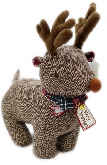 Festive Fabric Winter Christmas Reindeer Doorstop Home Decoration ~ Brown Herringbone