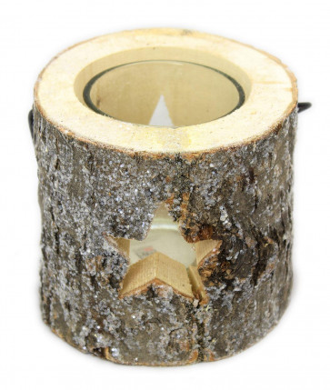 Natural Oak Wood Christmas Tealight Candle Holder With Star And Glitter Detailing 10Cm