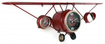Large Red Vintage Metal Aeroplane Plane Shelf With 3 Clocks