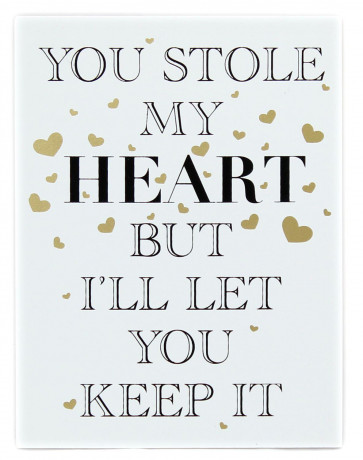 Gold Wooden Love Sign Wall Hanging Plaque 15cm x 20cm ~ You Stole My Heart