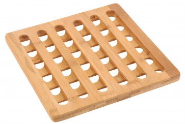 Beautiful Heat Resistant Non Slip Bamboo Kitchen Trivet Pan Stand - Square