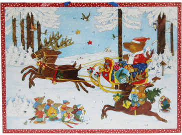 Deluxe Traditional Card Advent Calendar Large - Christmas Bear In Reindeer Sleigh