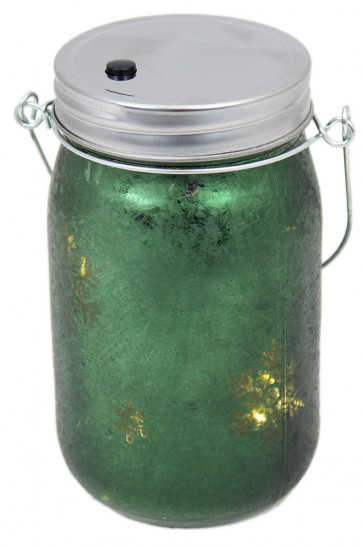 Frosted Glass Light Up Snowflake LED Mason Jar Christmas Lantern With Handle ~ Green