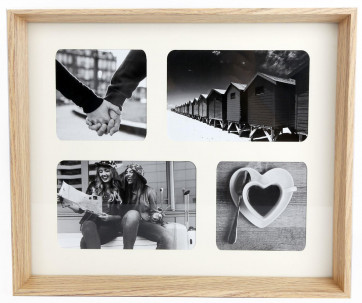 Wooden Box Style 4 Aperture Multi Montage Photo Frame