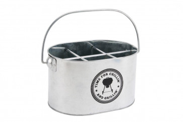 Time For Chillin And Grillin Metal Bbq Chiller Cooler Drinks Bottle Holder Ice Bucket