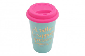 I'd Rather Be Sipping Prosecco' Ceramic Travel Mug - Fun Novelty Prosecco Slogan Thermal Tea Coffee Cup