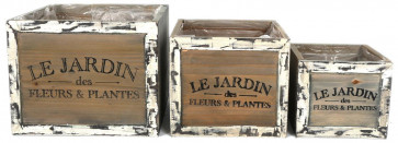 Le Jardin Set Of 3 Rustic Lined Wooden Square Planters