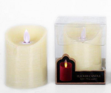 Battery Operated Flickering Ivory Candle 10Cm