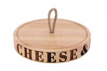 Loft Contemporary Housewares Solid Round Carved Rubberwood Cheese And Biscuits Serving Board With Jute Rope Handle