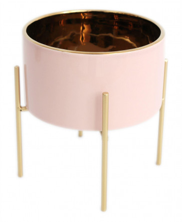 Pink And Gold Ceramic Cache Plant Pot Planter With Stand